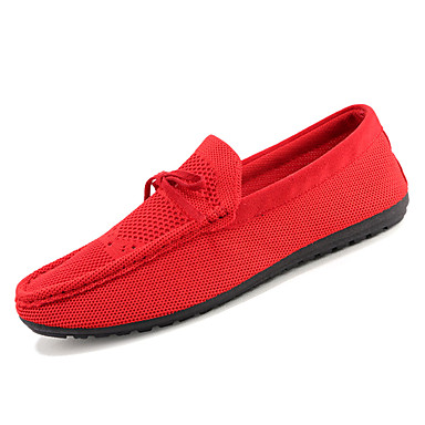 Men's Driving Shoes Cotton Black Summer Loafers & Slip-Ons Black Cotton / Red 36a197
