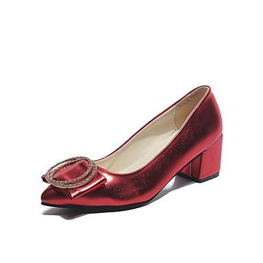 Pentru femei Pantofi PU Vară Balerini Basic Tocuri Plimbare Toc Îndesat Vârf ascuțit Negru / Rosu / Maro deschis