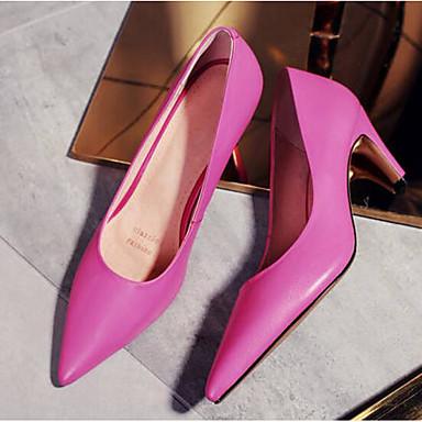 Femme Basique Fuchsia Chaussures Chaussures à Confort Noir Rose Printemps Talons Nappa Talon Bottier Escarpin Cuir 06771141 rrw4YqR