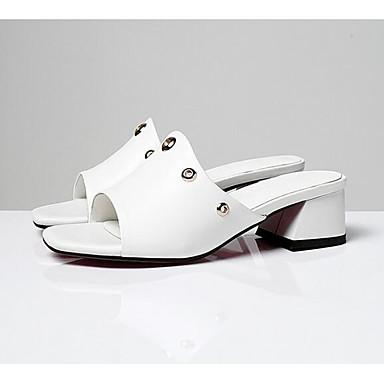 06766388 Sandales Noir Talon ouvert Femme Nappa Blanc Cuir Confort Eté Bout Chaussures Bottier pq7Xa