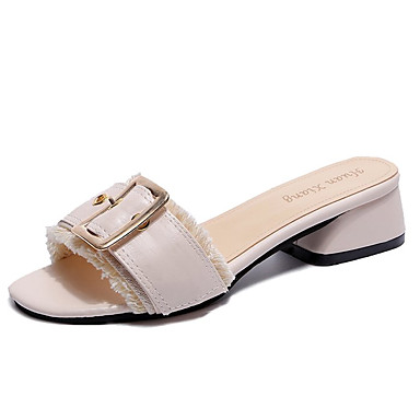 06752023 Zapatos Negro Sandalias Cuadrado PU Mujer Descubierto Talón Almendra Verano Tacón vxqRnndwa1