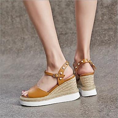 compensée Jaune 06764735 Hauteur Sandales Chaussures Blanc de Femme Confort semelle Eté Cuir Boucle Microfibre OgzwYpq7