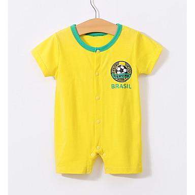 02139f0ea00 Μωρό Αγορίστικα Βασικό Καθημερινά Στάμπα Εκτύπωση Κοντομάνικο Βαμβάκι /  Πολυεστέρας Ένα Κομμάτι Κίτρινο