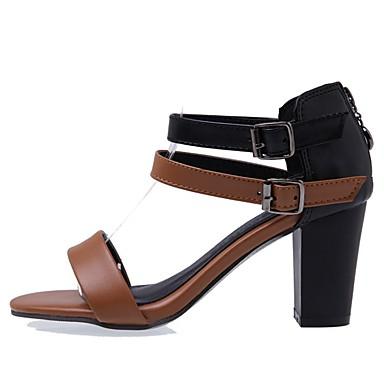 Pentru femei Pantofi PU Vară Pantof cu Berete Sandale Plimbare Toc Îndesat Vârf deschis Alb / Maro