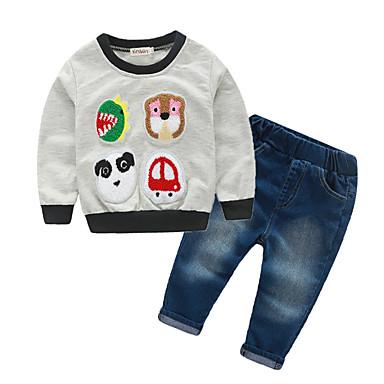 Bebelus Băieți Peteci Manșon Lung Set Îmbrăcăminte