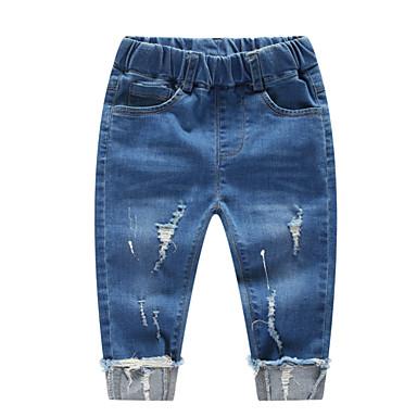 Serio Bambino Da Ragazzo Attivo Quotidiano Tinta Unita Strappato Cotone - Elastene Jeans Blu - Bambino (1-4 Anni) #06735737