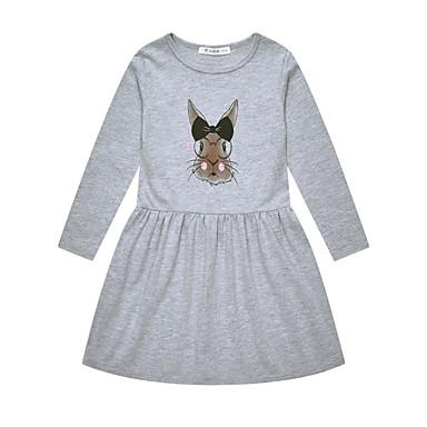 billige Babykjoler-Baby Pige Basale Trykt mønster Langærmet Bomuld Kjole Grå