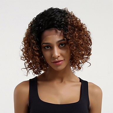 Remy Human Hair Lace Front Wig Layered Haircut style Brazilian Hair Curly Auburn Wig 130% Density with Baby Hair Ombre Hair Dark Roots Auburn Women's Short Human Hair Lace Wig Aili Young Hair