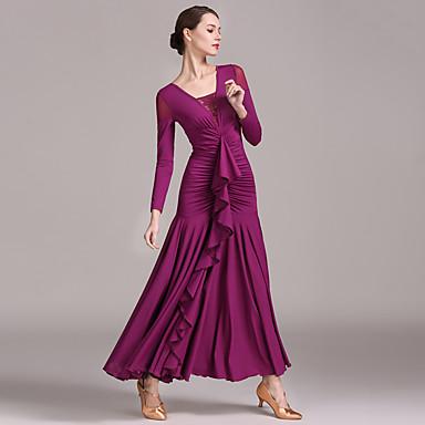 Ballroom Dance Dresses Women's Training / Performance Lace / Tulle / Ice Silk Draping / Ruching / Split Joint Long Sleeve High Dress