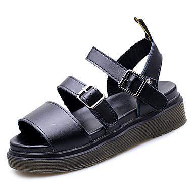 Pentru femei PU Vară Confortabili Sandale Creepers Vârf rotund Alb / Negru