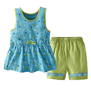 Bebelus Fete Geometric Fără manșon Set Îmbrăcăminte