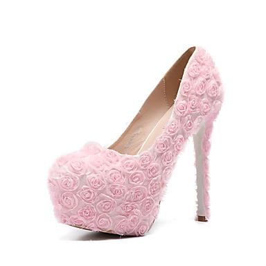 Pentru femei Pantofi PU Primavara vara Balerini Basic pantofi de nunta Toc Stilat Vârf rotund Flori din Satin Alb / Roz / Nuntă