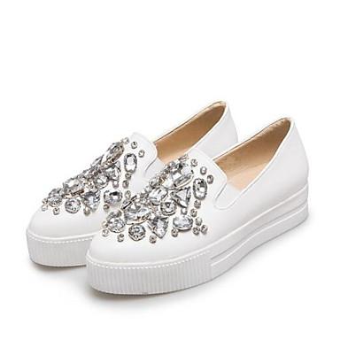 Confort Zapatos On Mujer Blanco 06831940 Verano plataforma Primavera cerrada Media taco Slip y PU Punta Negro bajo Zapatos de wIxqdRSgx