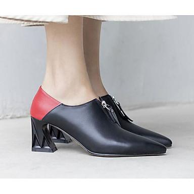 Printemps Cuir Talon Nappa Chaussures à Chaussures Femme Basique Automne 06791299 Amande Bottier Escarpin Confort Talons Noir wTatn