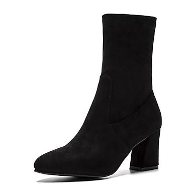 Chaussures Femme Daim slouch hiver Automne Noir bottes Bottier Talon Bout Botte Demi pointu Bottine Bottes 06818477 dCCqwr1