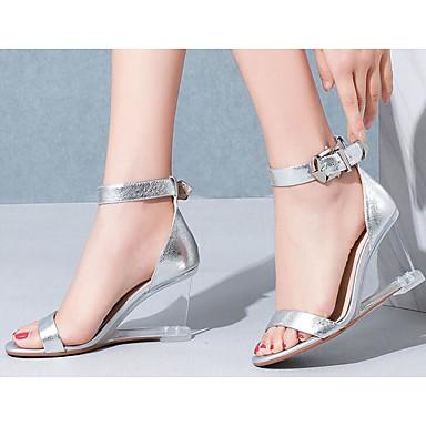 Eté Cuir 06781724 Confort Violet Chaussures Hauteur semelle Argent Sandales Nappa Femme de compensée qg4t7ZW