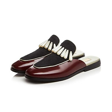06797361 Mules Bourgogne Printemps Talon Bout Confort Nappa Véronèse Cuir Plat Chaussures fermé amp; Sabot Femme Eté Vert Hp1aqTxw