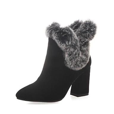 Žene Cipele Brušena koža Jesen zima Vojničke čizme Čizme Kockasta potpetica Okrugli Toe Čizme gležnjače / do gležnja Perje Crn / Sive boje / Badem