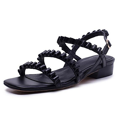 Bas Cuir Rose Nappa Chaussures Femme Confort 06832936 Eté Noir Talon Sandales 0Uwzqp5