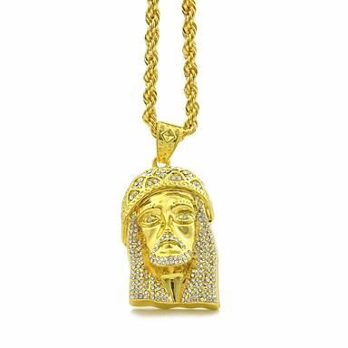 levne Dámské šperky-Pánské Kubický zirkon Náhrdelníky s přívěšky Řetízky Stylové Silný řetězec Foxtail řetězec hlava Víra Prohlášení Evropský Hip-hop Štras Slitina Zlatá Stříbrná 80 cm Náhrdelníky Šperky 1ks Pro