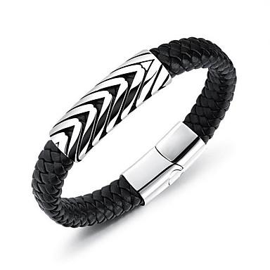 voordelige Herensieraden-Heren Lederen armbanden Dikke ketting Magnetisch Patroon Punk Leder Armband sieraden Zwart Voor Lahja Dagelijks