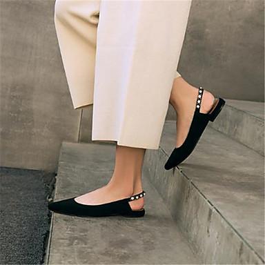 Žene Cipele Koža Proljeće ljeto Udobne cipele Ravne cipele Niska potpetica Krakova Toe Crn