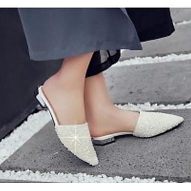 Sabot Chaussures Talon Eté 06776344 Faux Mules Cuir Femme Blanc Argent amp; Bas Confort xX6Fq88