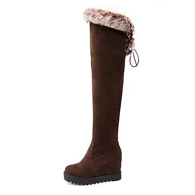 hiver Noir Cuissarde de à compensée semelle Femme Marron Bottes Chaussures Mode 06837259 la Polyuréthane Hauteur Bottes Automne tqS6UvOSw