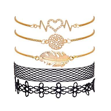baratos Pulseira de Corrente-5pçs Mulheres Pulseiras em Correntes e Ligações Fashion Formato de Folha Criativo senhoras Doce Fashion Elegante Renda Pulseira de jóias Dourado Para Presente Aniversário