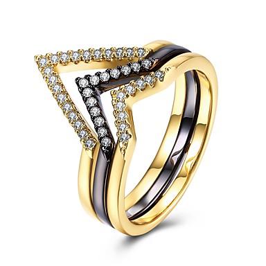 billige Motering-Dame Midi Ring Kubisk Zirkonium 1pc Regnbue Kobber Geometrisk Form damer Mote Daglig Aftenselskap Smykker Elegant Kul