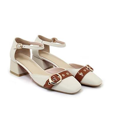 Beige Eté fermé Confort Femme 06790158 Nappa Boucle Talon Bottier Cuir Chaussures Sandales Bout Blanc aTqwZ7