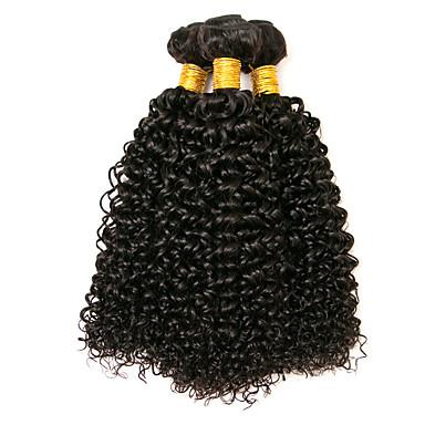 baratos Extensões de Cabelo Natural-3 pacotes Cabelo Peruviano Kinky Curly 8A Cabelo Humano Cabelo Humano Ondulado Cabelo Bundle Extensões de Cabelo Natural 8-28 polegada Côr Natural Tramas de cabelo humano extensão Melhor qualidade