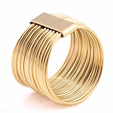 povoljno Nakit i ručni satovi-Par je Više slojeva Prsten za više prstiju Idi Rings Titanium Steel Kreativan Statement dame Neobično Jedinstven dizajn Europska pomodan Modno prstenje Jewelry Zlato Za Praznik Izlasci 6 / 7 / 8 / 9