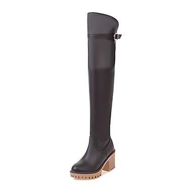 Žene Cipele PU Jesen zima Modne čizme Čizme Kockasta potpetica Okrugli Toe Čizme preko koljena Obala / Crn / Braon