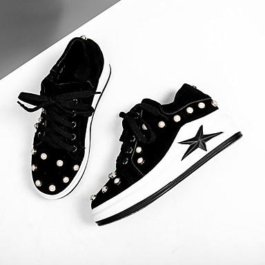 Žene Cipele Koža Proljeće ljeto Udobne cipele Sneakers Creepersice Okrugli Toe Crn