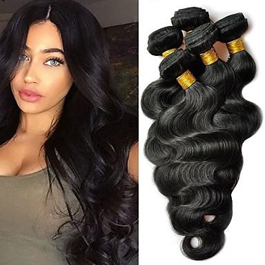 6 paketića Malezijska kosa Tijelo Wave Ljudska kosa Produžetak Bundle kose Jedan Pack Solution 8-28 inch Natural Prirodna boja Isprepliće ljudske kose Smooth proširenje Moda Proširenja ljudske kose