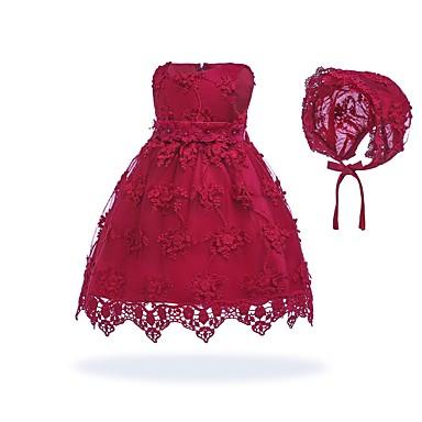 billige Babykjoler-Baby Pige Vintage I-byen-tøj / Fødselsdag Ensfarvet Uden ærmer Knælang Bomuld Kjole Hvid