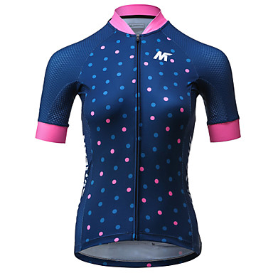 Mysenlan Women's Short Sleeve Cycling Jersey - Dark Blue Bike Jersey Polyester / Expert / Italy Imported Ink / Breathable Armpits