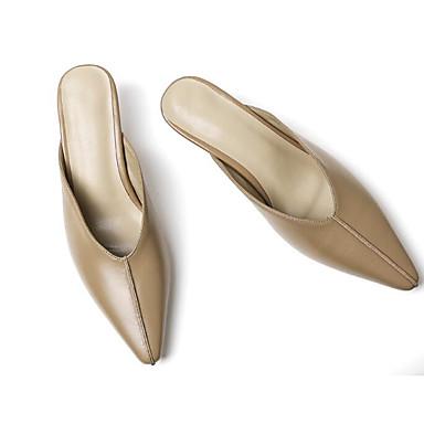 Nappa Amande Confort Basique Mules amp; 06797399 Printemps Heel Noir Sabot Cuir Femme Chaussures Escarpin Kitten ExgTwq