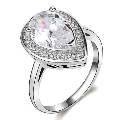 Χαμηλού Κόστους Μοδάτο Δαχτυλίδι-Γυναικεία Κλασσικό Κομψό HALO Δαχτυλίδι Δαχτυλίδι αρραβώνων Επιμεταλλωμένο με Πλατίνα Προσομειωμένο διαμάντι Αχλάδι Μοντέρνο κυρίες Μοναδικό Ρομαντικό Μοδάτο Δαχτυλίδι Κοσμήματα Ασημί Για