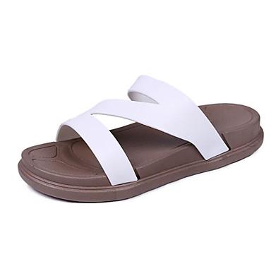 Žene Cipele PVC Ljeto Udobne cipele Papuče i japanke Ravna potpetica Obala / Crn / Pink