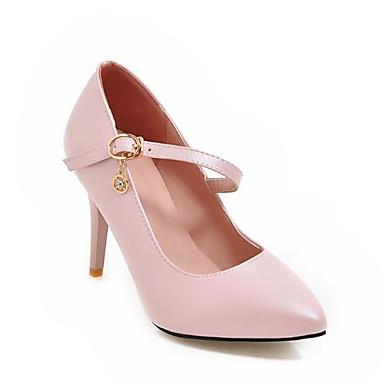 Women's PU(Polyurethane) Shoes PU(Polyurethane) Women's Spring & Summer Comfort Heels Stiletto Heel Pointed Toe Sparkling Glitter / Buckle White / Black / Pink 075bdb