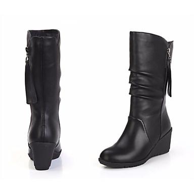 Žene Cipele PU Jesen zima Modne čizme / Obrada krzna Čizme Wedge Heel Okrugli Toe Čizme do pola lista Crn