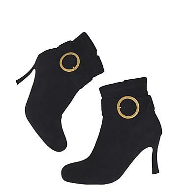 Žene Cipele Brušena koža Ljeto Udobne cipele Čizme Stiletto potpetica Krakova Toe Čizme gležnjače / do gležnja Crvena