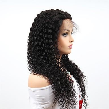 billige Blondeparykker med menneskehår-Remy-hår Helblonde Parykk Brasiliansk hår Afro Kinky Parykk Asymmetrisk frisyre 130% / 150% / 180% Dame / sexy Lady / Naturlig Svart Dame Veldig lang Blondeparykker med menneskehår
