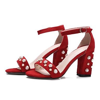 Eté Bottier 06828166 Rouge Sandales Talon Femme Daim Chaussures Confort Noir EZgqg6