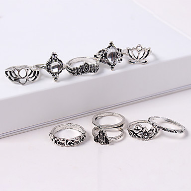 0822644700 Women's Retro Ring Set Acrylic Alloy Crown Lotus Ladies Vintage European  Fashion Ring Jewelry Silver For