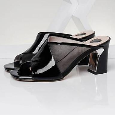 Žene Cipele Mekana koža Ljeto Udobne cipele Sandale Kockasta potpetica Otvoreno toe Obala / Crn