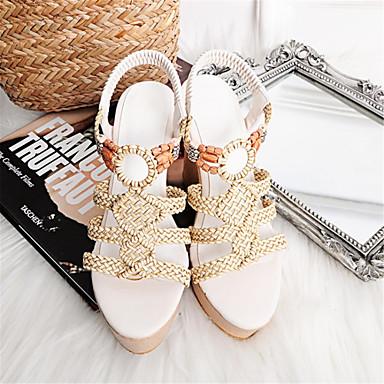 semelle compensée 06776533 Chaussures Hauteur Kaki de amp; synthétique Femme ouvert été Bout Gladiateur Matière Sandales Soirée Evénement Printemps Blanc zUq0vx