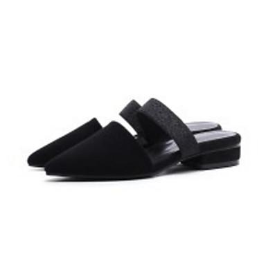 Sabot Plat amp; Mules Confort mouton Femme de Noir 06833474 Talon Eté Peau Chaussures Printemps wC0ZFq